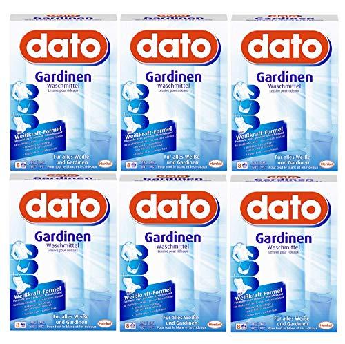 Dato Gardinen Waschmittel, 48 (6 x 8) Waschladungen, für alles Weiße und Gardinen