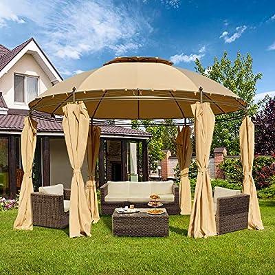 Amazon - 70% Off on 11.5ft Outdoor Patio Gazebo Steel Round Fabric Top Anti-UV Dome Gazebo Canopy