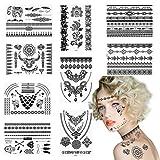 Etiqueta Engomada Temporal Negra del Tatuaje, CHIFOOM, 9 Hojas,Encaje Impermeable Joya Falsa,Etiquet...