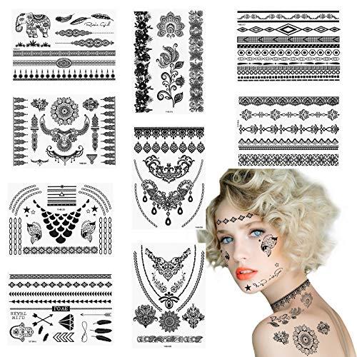 CHIFOOM 9PCS Halloween Tatouage Autocollants Noir, Sexy Dentelle Noire Tatouage Maquillage Métalliques Mascarade Autocollants Carnaval Cosplay