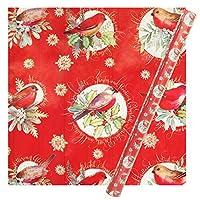 パンチスタジオ 【クリスマス】 ラッピングペーパー | 包装紙 (こまどり×レッド) 44441