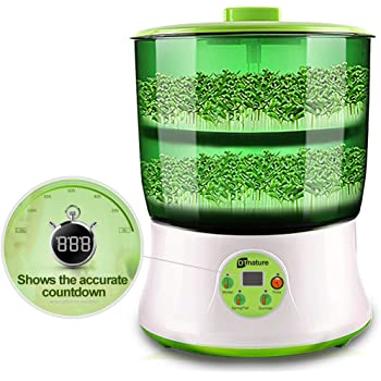 Bean Sprout Machine LED Display BPA Free PP Time Control Atomatic Watering System 2-Tier Big Capacity 110V Sprouting Kit