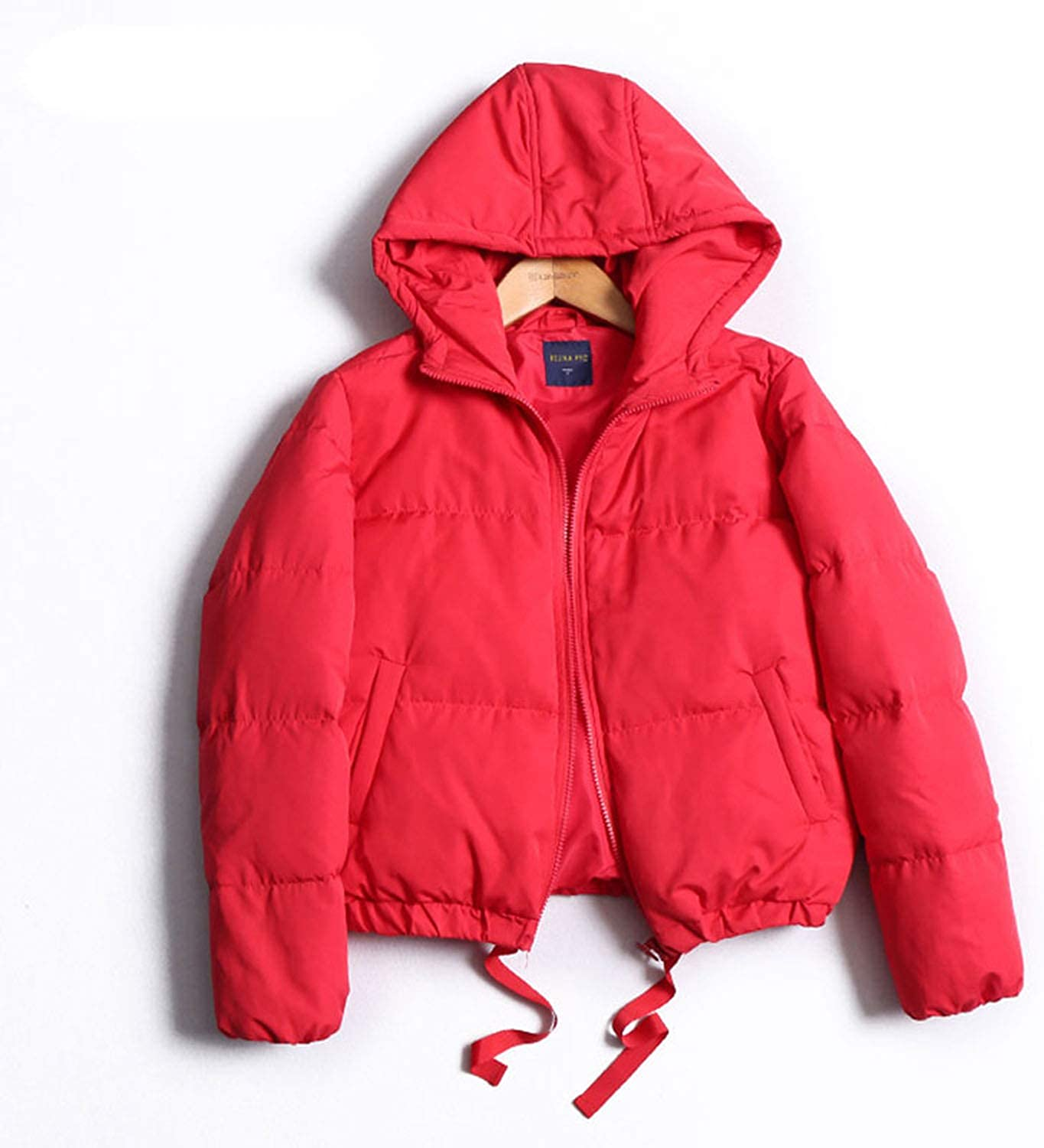 I'll NEVER BE HER Women Winter Red White Duck Down Short Casual AllMatch Thick Warm Hooded Coat Outerwear
