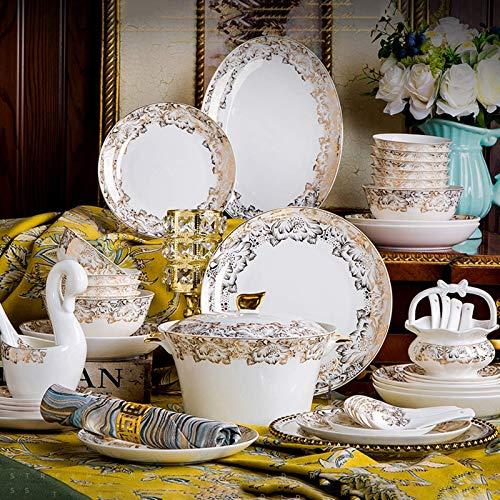 YLJYJ De Cena de cermica de Plato de Cena, 56 Piezas de Caja de Regalo Juegos de vajilla de Celadon con Alivio  Cuencos de Sopa y Cereales de Porcelana de