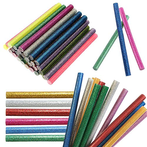 JJPRIME - Confezione da 50pcs, multicolore [Giltter] Hot Melt [Glue Gun Sticks], 10x0.7cm