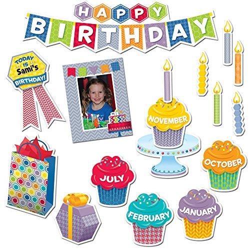 Creative Teaching Press 6794 Bordüre, gewellt, Grün HexaFun Alles Gute zum Geburtstag, Mini-Pinnwand-Set Herzlichen Glückwunsch zum Geburtstag