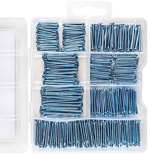 Coceca Hardware Nail Assortment Kit 600pcs, Galvanized Nails for Hanging Pictures, 7 Size Assortment