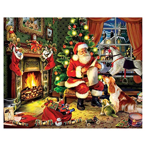 Diamond Painting Xmas Christmas Diamond Painting Santa Claus 5D DIY Diamond Embroidery Cartoon Cross Stitch Mosaic Home Decoration Xmas Gift Diamond Painting Xmas Decorations(40x50cm)