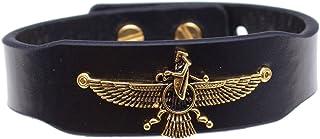 Asoodehdelan Gold Pt Leather Iranian Persian Farvahar Faravahar Bracelet Ira Gift Farohar