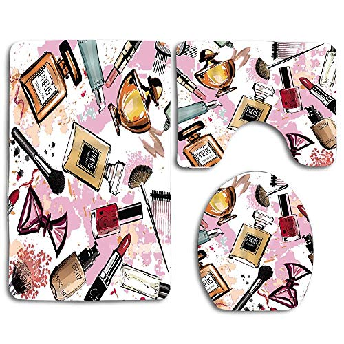 Not Applicable Kosmetik und Make-up mit Parfüm Lippenstift Nagellackpinsel Modern City Lady 3-teiliges Badteppich-Set Anti-Rutsch-Badteppich + U-förmige Toilettenmatte + Toilettensitzbezug