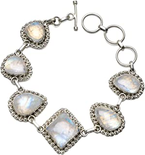 Natural Rainbow Moonstone Unique Punk Style 925 Sterling Silver Bracelet 6 3/4-8