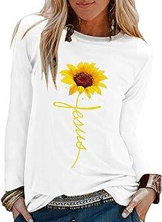 RISTHY Camisetas, Camisetas Mangas Largas Mujer Blusas Casual con Estampado de Girasol Camiseta Casual Tallas Grandes Sueltos Originales Camisa Tops Otoño Elegantes Playa Fiesta Camisas para Mujer RISTHY