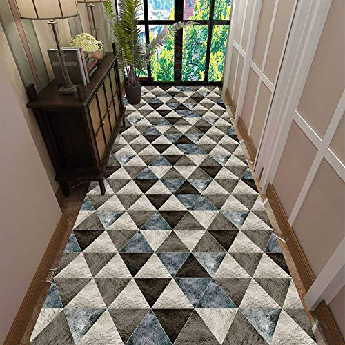 N / A Runner Rugs Non-Slip Hallway Runner, Thick Geometric Patchwork Floor Mat Rug, Ideal for Living Room Entryway Foyer Front Door, 80/90/100/120cm Wide(Size:80×1000cm)
