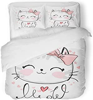 Emvency 3 Piece Duvet Cover Set Breathable Brushed Microfiber Fabric Pink Graphic Cute Cat Sketch Children Girl with Text Meow Face Kitten Adorable Bedding Set with 2 Pillow Covers Full/Queen Size