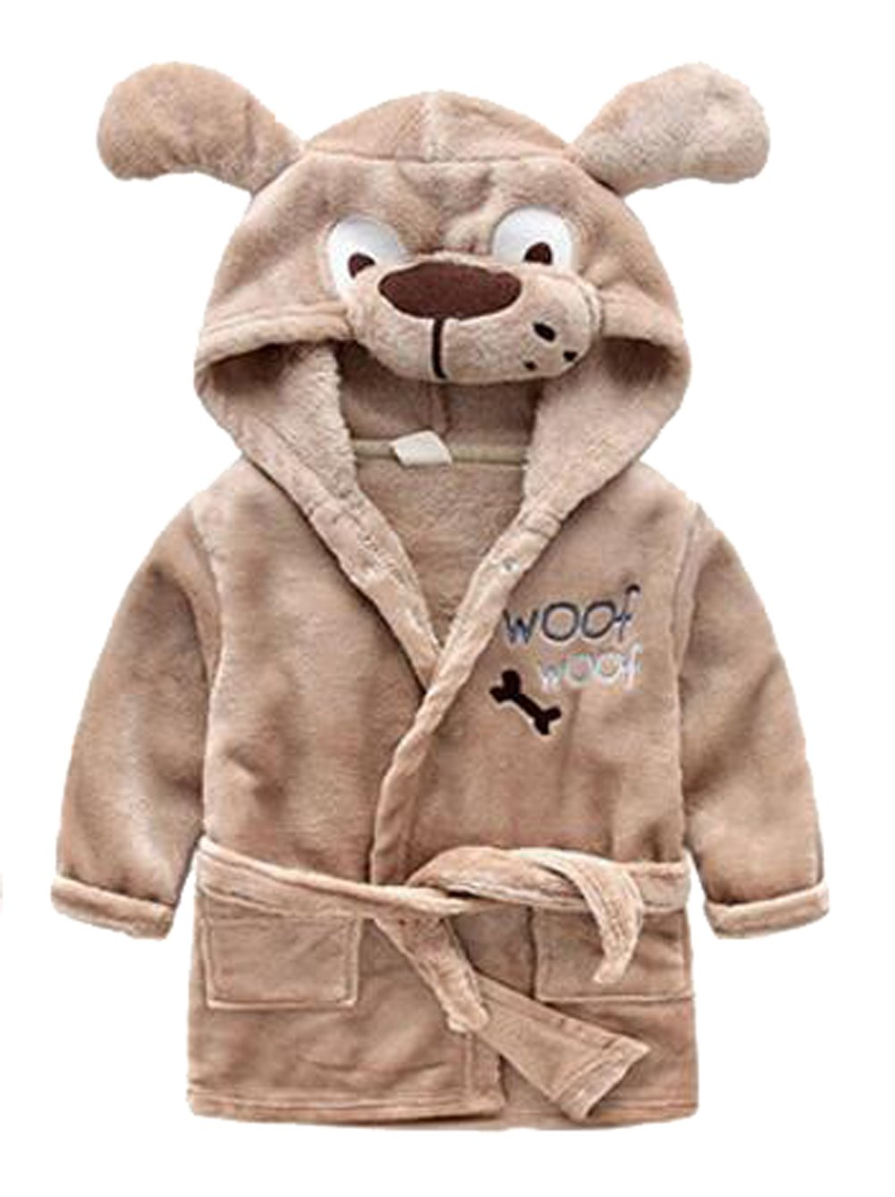 Image of Brown Hooded Puppy Robe for Toddler Boys - See More Animals
