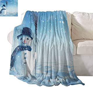 SONGDAYONE Indoor and Outdoor Blankets Snowman Soft to The Touch Snow Covered Wintry Landscape with Cute Happy Snowman Cold Outdoors W40 x L60 Dark Blue Pale Blue White