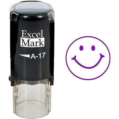 Smiley FACE - ExcelMark Self-Inking Round Teacher Stamp - Purple Ink