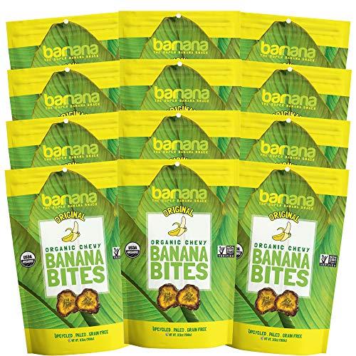Barnana Organic Chewy Banana Bites - Original - 3.5 Ounce, 12 Pack Bites - Delicious Potassium Rich Banana Snacks - Lunch Dinner Sports Hiking Natural Snack - Whole 30, Paleo, Vegan