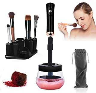 BEAUTY ONLINE Makeup Brush Cleaner Dryer Electric Automatic Cosmetic Brush Cleaning Device Tools Kit Machine Spinner 360º Rotation with 8 Rubber Fit All Size Brushes