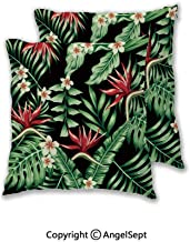 Constance Southeya Tropical Plants and Decorative Throw Pillow Covers for Sofa Couch Décor Bedroom Car