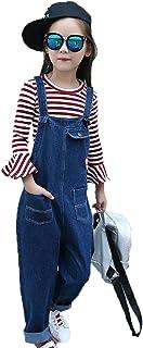 Meng Fan ガールズ サロペットデニム カジュアルデニム パンツ 女の子 キッズ 子供 ロングパンツ ジーンズ オーバーオール 長ズボン