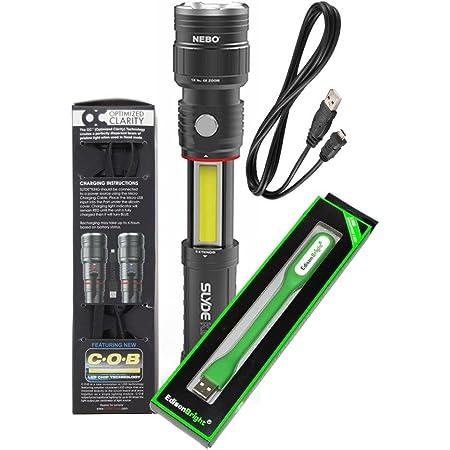 Nebo Slyde King 500 Lumen USB rechargeable LED flashlight/Worklight 6726, rechargeable Li-ion battery with EdisonBright USB powered reading light bundle