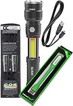 Nebo Slyde King 330 Lumen USB rechargeable LED flashlight/Worklight 6434, rechargeable Li-ion battery with EdisonBright USB powered reading light bundle