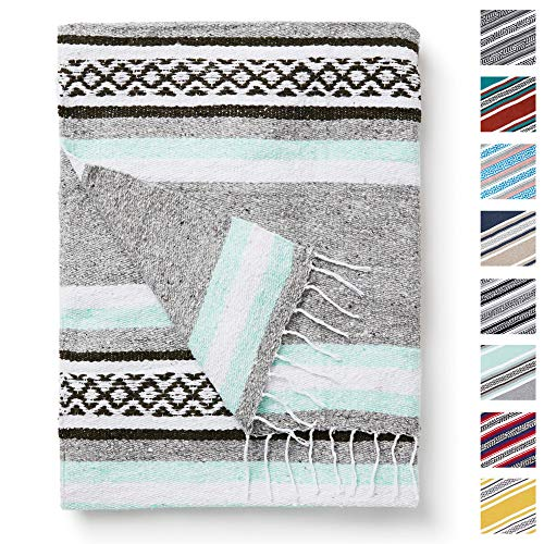 Mint and Gray Mexican Blanket by Laguna Beach Textile Co - Beach, Yoga, Camping, or Decorative Throw Blanket - Traditional Handmade Serape - Mint and...