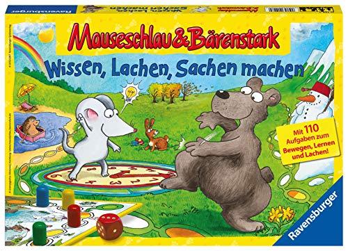 Ravensburger 21298 - Wissen, Lachen, Sachen machen - Mauseschlau & Bärenstark für Kinder, Kinderspiel für 2-4 Spieler, Quiz ab 5 Jahren