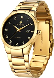 Men's Watch Analog Quartz Waterproof Watch with Date Fashion Business Stainless Steel Casual Gift Wrist Watches (Gold Black&Gold&Blue&Black)