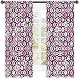 Tenda isolata per ombreggiatura geometrica, stile Doodle Ornamentale Foglia Schema di colori astratto, tonalità insonorizzate, W52 x L63 pollici viola rosa verde oliva