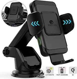 ZeeHoo Wireless Car Charger,10W Qi Fast Charging Auto-Clamping Car Mount,Windshield Dash Air Vent Phone Holder Compatible iPhone 11/11 Pro/11 Pro Max/Xs MAX/XS/XR/X/8/8+,Samsung S10/S10+/S9/S9+/S8/S8+