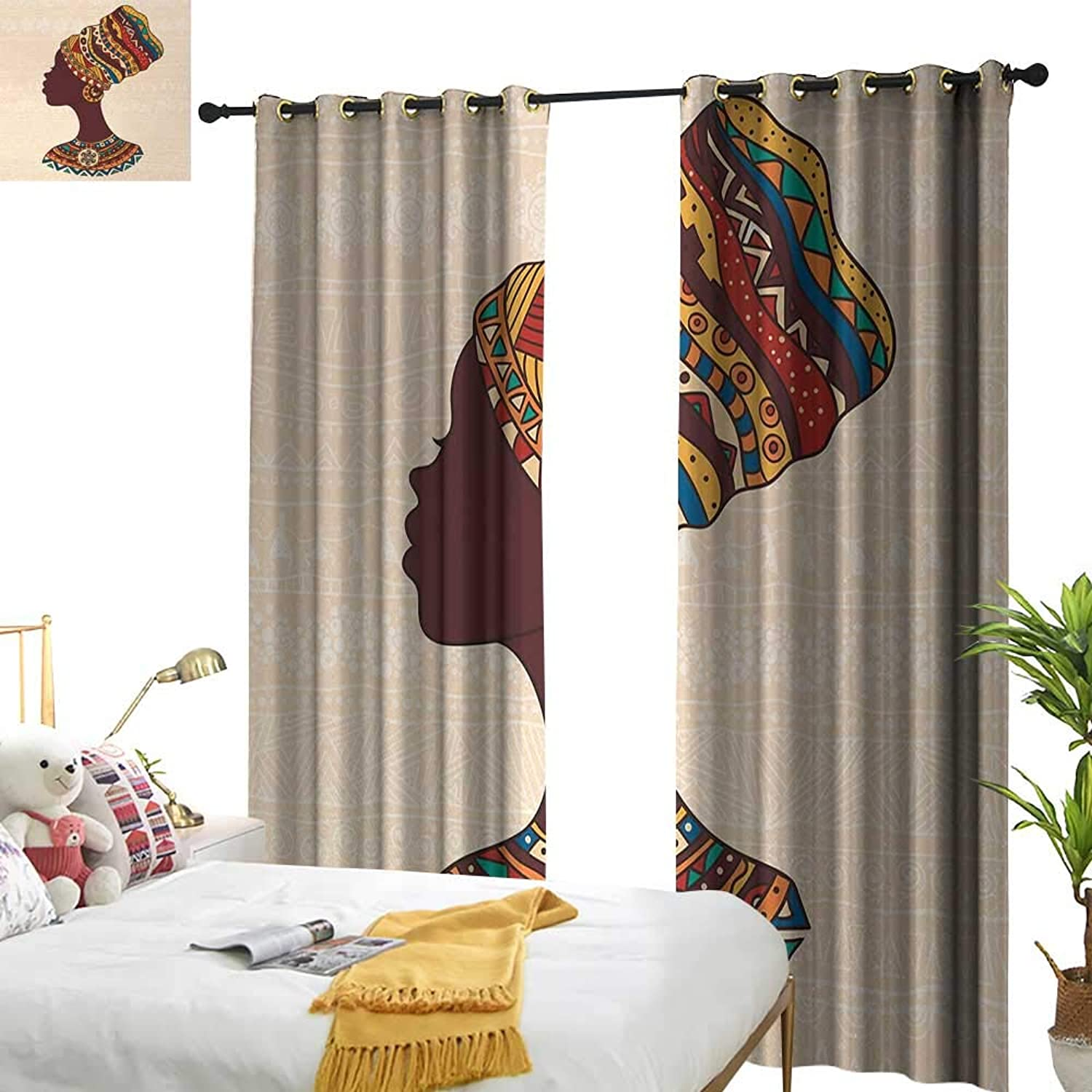 Anyangeight Tribal,Blackout Draperies for Bedroom,African Woman in Traditional Ethnic Fashion Dress Portrait Glamour Graphic,W120 xL108,Suitable for Bedroom Living Room Study, etc.