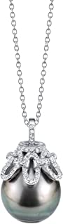 13-14mm Baroque Black Tahitian Cultured Pearl & Cubic Zirconia Anais Pendant Necklace for Women