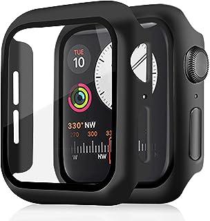 Skyddslock med pansarglas skärmskydd kompatibel med Apple Watch Series 4/5/6/SE 44 mm, 360° allround-skyddsfodral, PC-mate...
