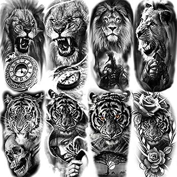 8 Sheets Yezunir 3D Black Tribal Realistic Tiger Gladiator Temporary Tattoos For Men Fake Forearm Transfer Tattoo Stickers Pirate Compass Clock Lion Sexy Skull Fake Tatoos Women Warrior Tatto kits