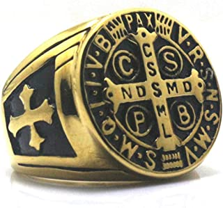 Gungneer Saint Benedict Medal Stainless Steel Golden Catholic Ring Jewelry for Men Women