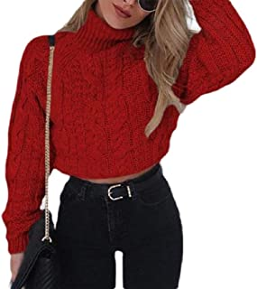 Macondoo Women's Long Sleeve Cable Knit Crop Jumper Turtle-Neck Tops Sweaters