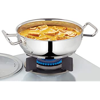 Borosil - Stainless Steel Flat Kadhai with lid, Impact Bonded Tri-Ply Bottom, 1.8 L, Silver