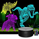 Lektist Dinosaur 3D Illusion Lamp - 3 in 1 3D Night Light for Kids Dinosaur Toys Children Birthday 16 Colors Lighting Desk Lamp with Remote (Triceratops + T-rex+ Stegosaurus)