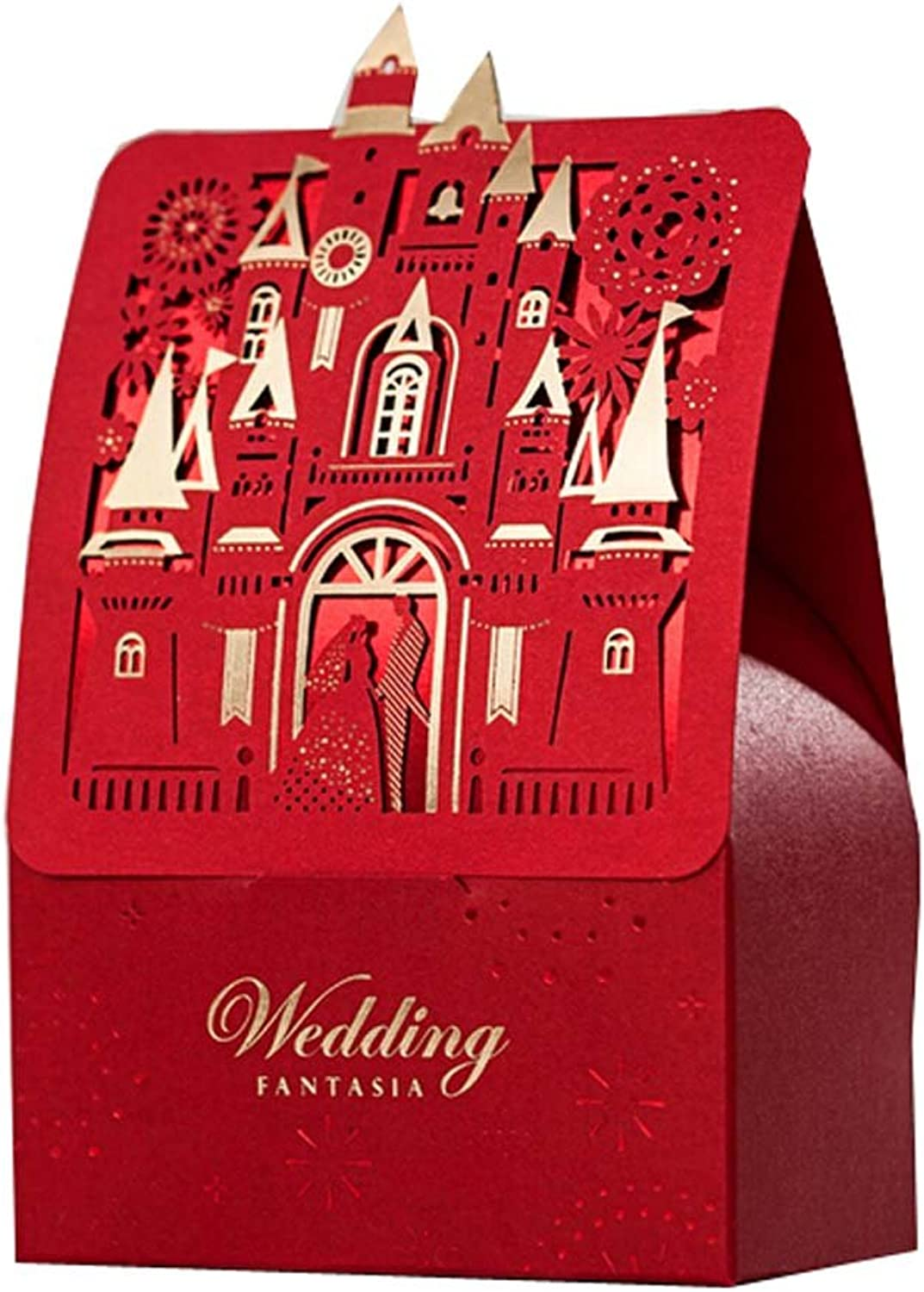 whiteho Set of 100 RED Castle Wedding Candy Box Beautiful Candy Box
