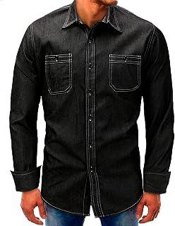 60a8b7611c4 ZHRUI Camisa Vaquera para Hombre Top de Manga Larga Casual Slim Fit Plan  Negro Cuello en