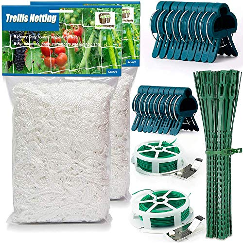 34 Pcs Trellis Netting SET for Indoor Outdoor Garden Climbing Plants 2 Flexible Twine Nets 5x30 ft 2 Cutters with 164 ft Twist Wire 9 Large amp 9 Small Clips 12 Reusable Twist Ties Cucumber Tomato Peas