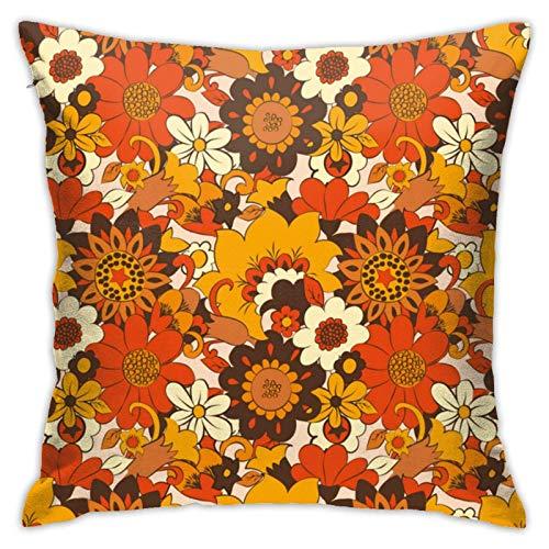 Funda de cojín con cremallera, diseño retro retro de los años 70, diseño floral psicodélico, 45,7 x 45,7 cm
