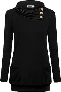 Women's Sweatshirt Cowl Neck Tunic Hoodies Long Sleeve Top with Pocket