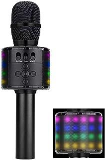 Amazmic 3200mAh Wireless Handheld Karaoke Microphone With Speaker, Built-in 48pcs LED Lights, Portable Bluetooth Karaoke Machine for any Smartphone Pc, Kids Birthday Gift Home Party KTV (Black)