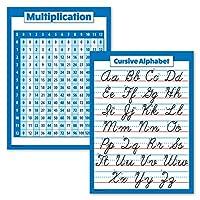 掛け算表ポスター&筆記体ABCアルファベットチャート ラミネート加工 18インチ x 24インチ 2枚パック