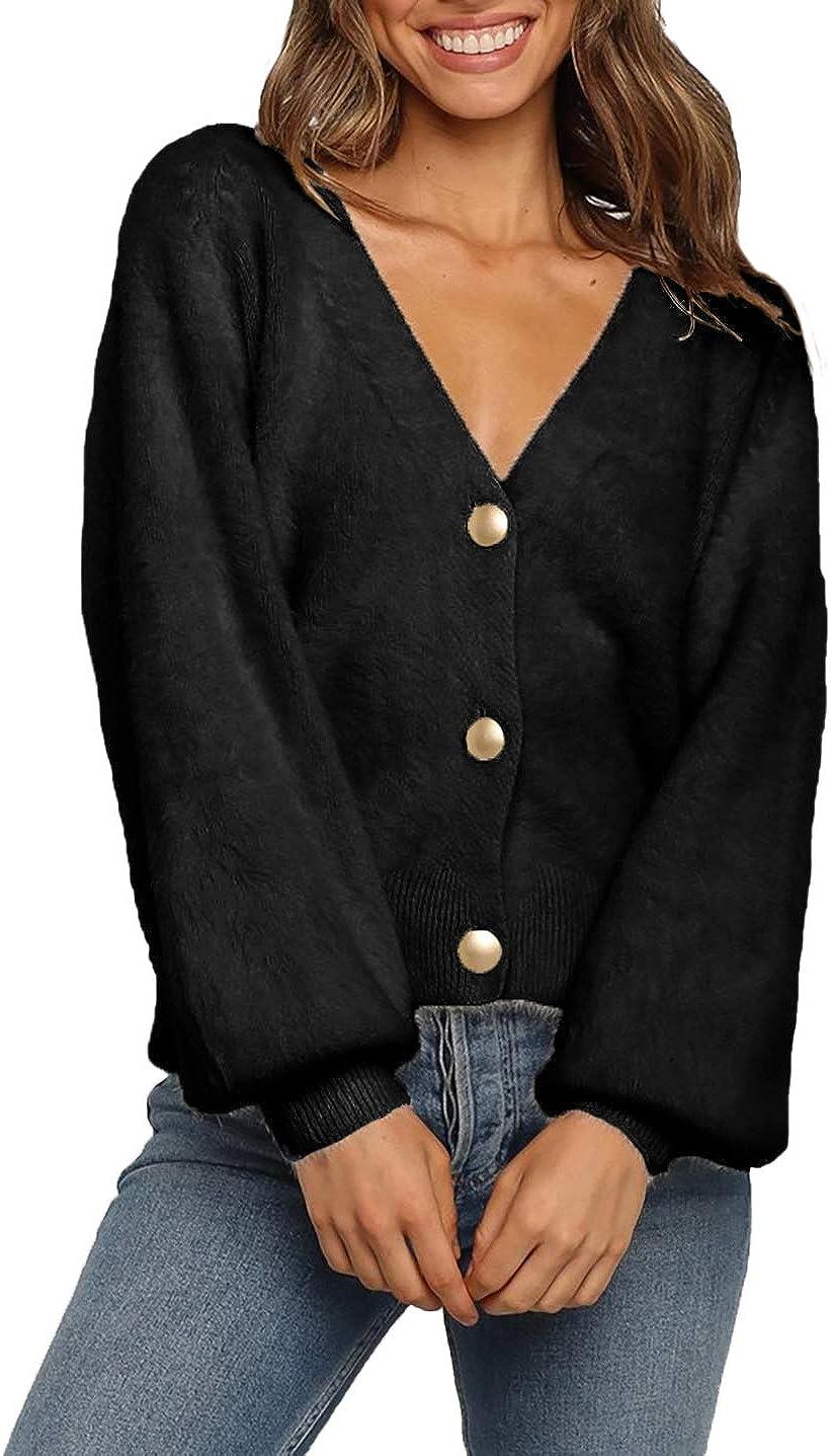 HZSONNE Women's Button Down Short Cardigan Sweater Soft Faux Fur Coat Fuzzy Knit Long Sleeve Casual Outerwear