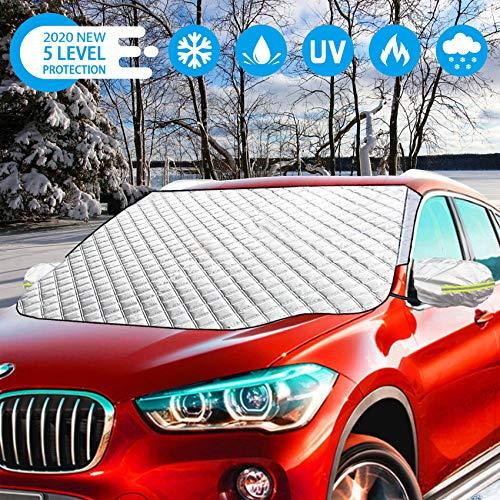 SZHTFX Frontscheibenabdeckung Auto Scheibenabdeckung mit Rückspiegelabdeckung Magnet Fixierung Faltbare Auto Abdeckung für die Windschutzscheibe gegen Schnee, EIS, Frost, Staub, Sonne 183 * 120CM