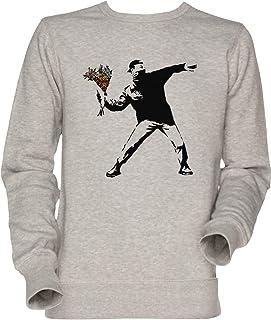 Vendax Banksy - Rabbia, Fiore Lanciatore Unisex Uomo Donna Felpa Maglione Grigio Men's Women's Jumper Sweatshirt Grey